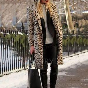 Jackets & Blazers - Long Sleeve Leopard Print Lapel Coat Animal XXL